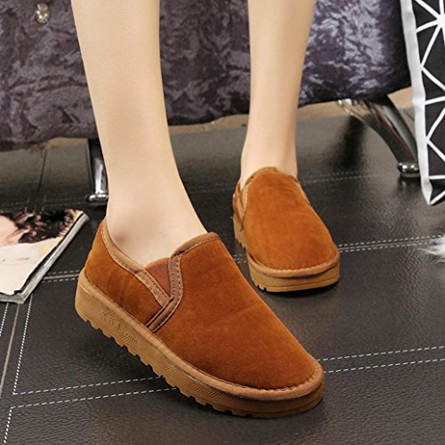Gillberry Women Boots Flat Ankle Lined Winter Warm Snow Shoes Lazy shoes Brown T2gDqcDST