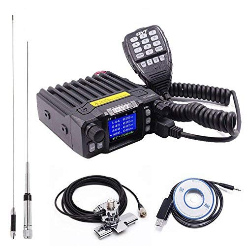 QYT KT-7900D Quad Band Quad Standby 25W Mini Mobile Car Radio 144/220/350/440MHz+ QYT Quad Band Antenna & USB Programming Cable + RB400 Car Clip Edge with 5M Coaxial ()