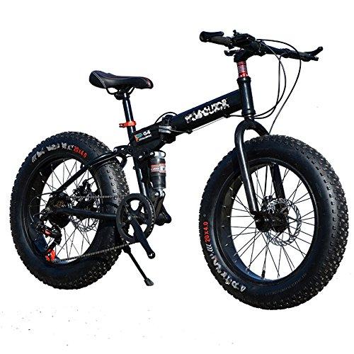 (QXMEI Snow Bike Folding Bike Cycling 21 Speed 26 Inch/Double Disc Brake Springer Fork Aluminum Alloy Frame Rear,Black-OneSize)