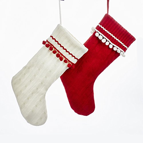 Kurt Adler 19 Inch 2 Assorted Red And White Knit Christmas Stockings ()