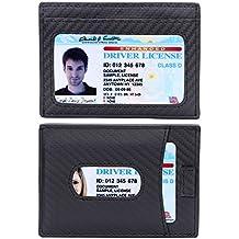 Kinzd Slim Carbon Fiber Money Clip Wallet, Minimalist RFID Front Pocket Thin Wallet