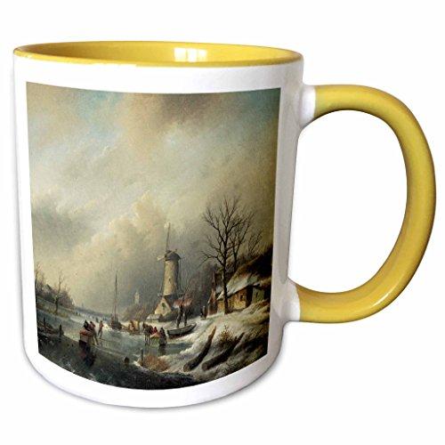 3dRose BLN Scenes of Winter Fine Art Collection - Winterlandschap met Figuren by Jan Jacob Spohler Windmill Landscape - 15oz Two-Tone Yellow Mug (mug_175482_13) ()