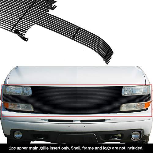 APS Compatible with 1999-2002 Chevy Silverado 1500 2000-2006 Suburban Tahoe Black Billet Grille Grill Insert S18-H52058C (2002 Silverado Grill)
