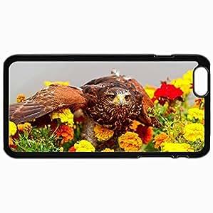 Fashion Unique Design Protective Cellphone Back Cover Case For iPhone 6 Plus Case Bird Predator Flowers Marigold View Black