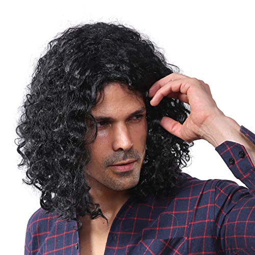 Starcourtyard 70s Long Black Curly Wig for Men Halloween Cosplay -