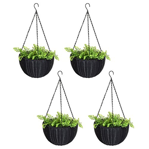 Edxtech Set Of 4 13.8'' Round PE Rattan Garden Plant Hanging Planters Decor Pots by Unknown