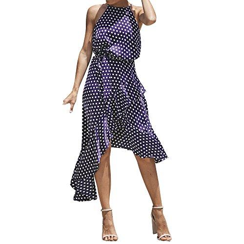 HGWXX7 Women Sexy Boho Dot Irregular Hem Cocktail Beach Evening Party Long Dress (S, Navy) ()