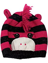 CP Girls Striped Pink & Black Zebra Hat Critter Style Beanie Stocking Cap