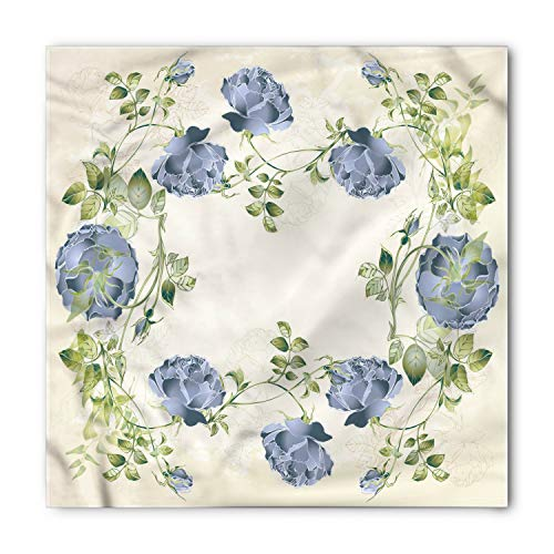 - Ambesonne Unisex Bandana, Floral Vintage Roses Framework, Cream Green