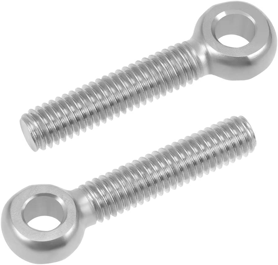 M6 x 40mm Machinery Shoulder Swing Lifting Eye Bolt 304 Stainless Steel Metric Thread 2pcs
