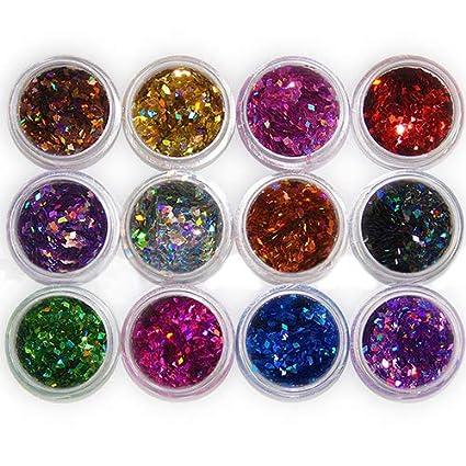 Brussels08-12 colores de uñas 3D Rhombus purpurina lentejuelas polvo uñas confeti decoración brillante Nail