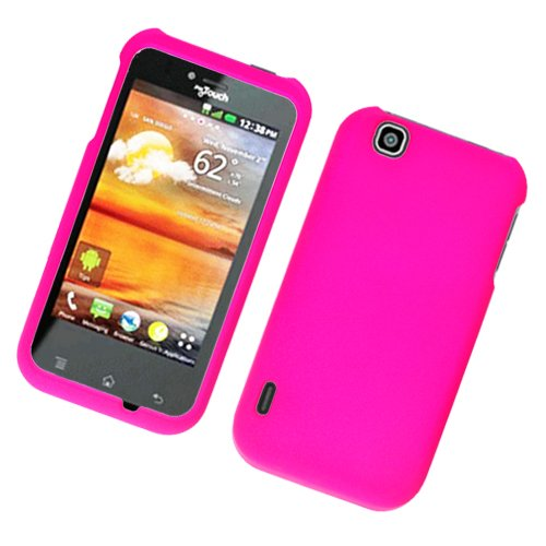 Hot Pink Texture Faceplate Hard Plastic Protector Snap-On Cover Case For LG myTouch ()