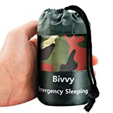 Cosparty Emergency Mylar Sleeping Bags Camouflage Survival Bivvy Sack with Portable Drawstring Bag for Camping,Adventure, Hiking (78 x 47in) Emergency Thermal Blanket Survivor Sleeping Bag
