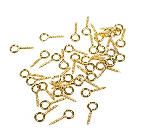 250PCS Mini Screw Eye Pin Peg Hoop Eyelets Threaded Eye Lags Hooks Bails Jewelry Making Findings for Beads Arts Crafts Projects Polymer Clay Pendant Cork Bottles Top Drilled Connectors 12x5mm Golden