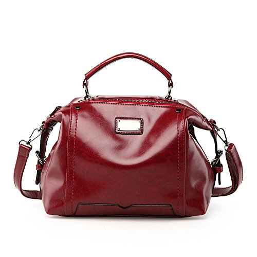 Wild Messenger Bag Fashion WineRed Fashion Bag Leather Wax Wild Shoulder RxE1wTcq