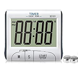 Big Digital kitchen Cooking Timer Clock Large Display Stopwatch Loud Alarm Countdown Timer Magnetic Back with Stand White(Battery Included )