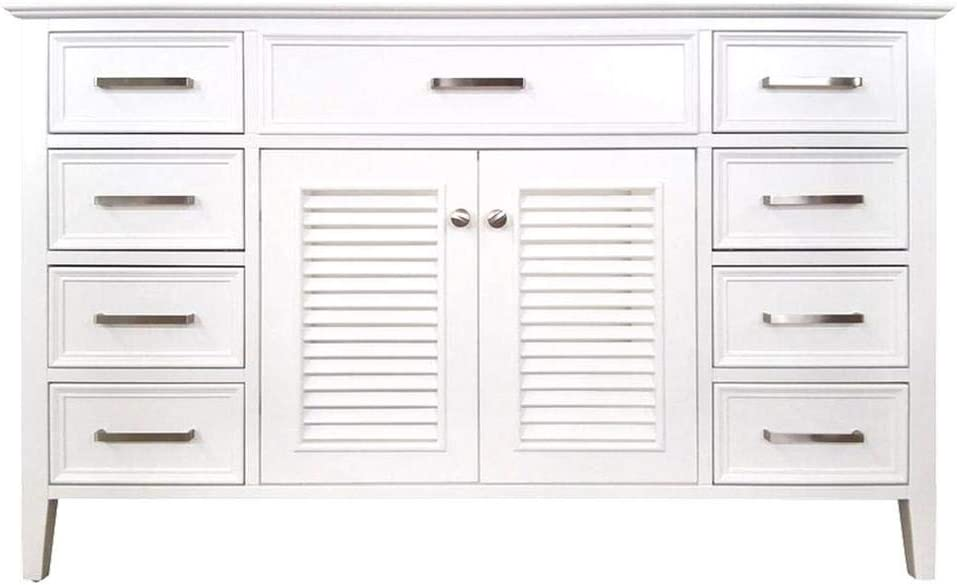 ARIEL Kensington D055S-BC-WHT 54 Inch White Base Cabinet with 2 Soft Closing Doors, 1 Decorative Faux Drawer and 8 Self Closing Drawers