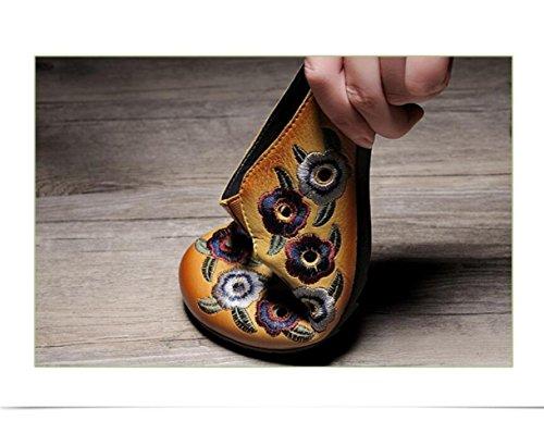 Amarillo Nacional Ojeras Y Sandalias De Retro Hechas Baotou Huecas Mano Transpirables Zapatillas Bordado Verano Estilo Femenino A Zapatilla 6TB7q6