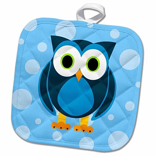 Woodland Pot Holder - 3dRose Janna Salak Designs Woodland Creatures - Cute Blue Owl on Light Blue Background - 8x8 Potholder (phl_6312_1)