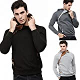 AMSKY Mens' Pullover Hoodies, Fashion Zipper Side Hipster Color Block Cozy Cotton Hooded Sweatshirts Coat with Pocket (XL, Black)
