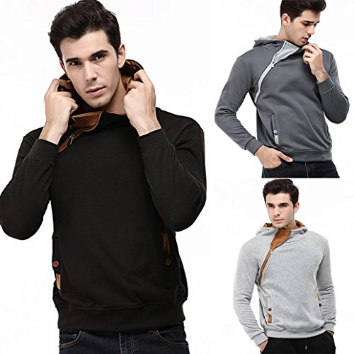 AMSKY Mens' Pullover Hoodies, Fashion Zipper Side Hipster Color Block Cozy Cotton Hooded Sweatshirts Coat with Pocket (XL, Black) by AMSKY
