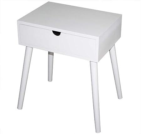 Kmh Table D Appoint Table De Chevet Mango Blanche Avec Tiroirs
