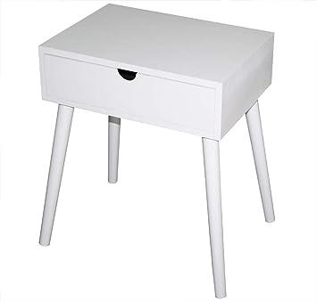 Kmh Table Dappointtable De Chevet Mango Blanche Avec Tiroirs Design Skandinave Moderne 800074