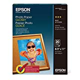 Epson Glossy Photo Paper, 8.5 X 11-Inch, 20 Sheets Per Pack (S041141)