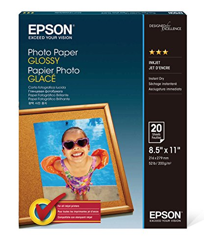 Epson Glossy Photo Paper, 8.5 x 11 Inches, 20 Sheets per Pack (S041141)