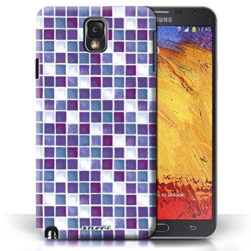 Etui / Coque pour Samsung Galaxy Note 3 / Violet/Blanc conception / Collection de Carreau Bain