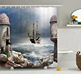 Ambesonne Sailboat Decor Shower Curtain Set, A Pirate Merchant Ship Anchored in The Bay of A Fort Abandoned Rocks at Shore, Bathroom Accessories, 75 inches Long