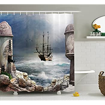 nautical shower curtain set sailboat decor by ambesonne a pirate merchant ship anchored in the bay of a fort abandoned rocks at shore bathroom accessories