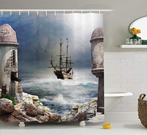 Nautical Shower Curtain Set Sailboat Decor By Ambesonne, A Pirate Merchant Ship Anchored in The Bay Of A Fort Abandoned Rocks At Shore, Bathroom Accessories, With Hooks, 69W X 70L Inches (Seashore Shower Curtains)