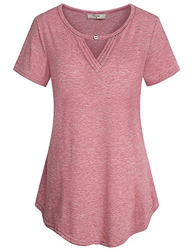 Cestyle Tunics for Women, Womens Summer Tops 2019 Short Sleeve O Neck Elegant Business Casual Boutique Clothes Keyhole Blouse Dressy Relaxed Fit Breathable Curved Hem Shirt Red Medium