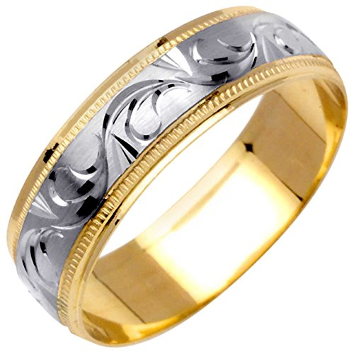 14K Two Tone (White and Yellow) Gold Floral Vine Men's Wedding Band (6mm) Size-15.5c1