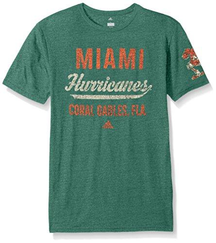 adidas NCAA Miami Hurricanes Adult Men Stenciled Sweep Tri-Blend S/Tee, Medium, Dark Green Heathered - Game Miami Hurricanes Green