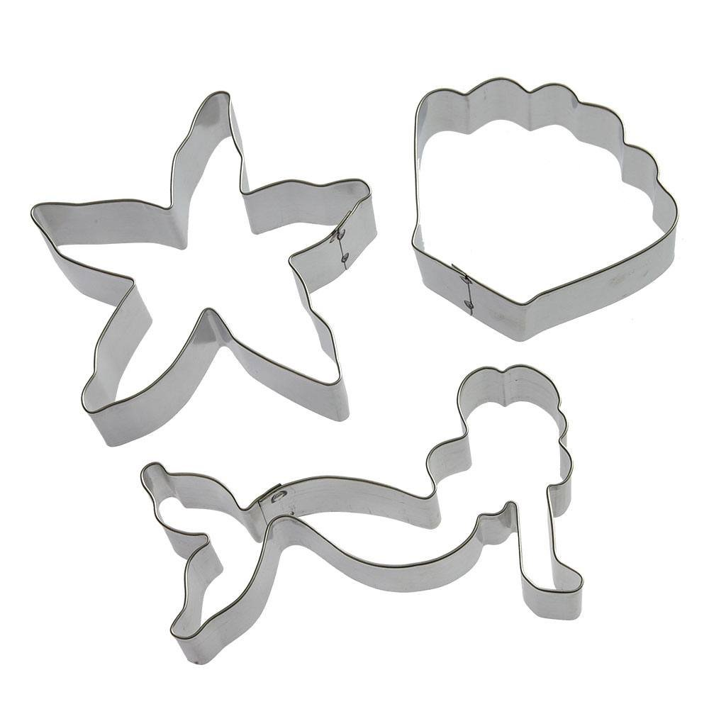 Under The Sea Cookie Cutter Set - 3 Pieces - 3 in Seashell, 4 in Starfish, 4.5 in Mermaid - Foose Cookie Cutters - US Tin Plated Steel HS0416
