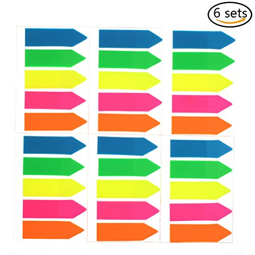 6 Sets (600 Pieces) Index Tabs for Page Marker Self Adhesive Plastic Neon Page Markers Fluorescent Sticky Notes (Arrow Shape) Self Adhesive Note Set