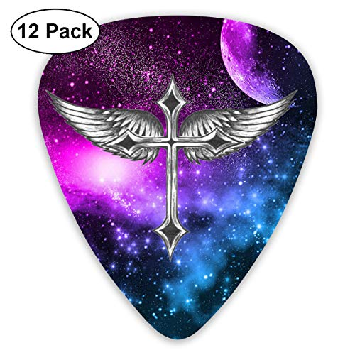 GUITARARAR Guitar Picks 12pack Celluloid Plectrum Custom 0.46mm/ 0.71mm/ 0.96mm Wing Cross Crucifix Electric Acoustic Guitars Bass Best Stocking Stuffer Gifts for Kids Teens Teenagers Adults