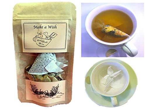 Good Luck Sampler - Novelty Gift ONE Goldfish tea bag, Make a Wish, GREEN TEA MINT, Small gift for friend, Birthday gift, Lucky Fish, Good Luck gift,Tea gift for colleague