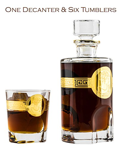 Denizli 71-722300, 22 Oz. Crystal Decanter and Six 6.76 Oz. Whisky Scotch Brandy Glasses with Golden Trim, Wedding Carafe & Whiskey Tumblers, 1+6-Piece (Armenian Brandy)