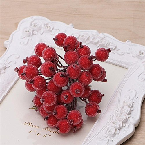 Frosted Holly (LIYUDL 40pcs Artificial Mini Frosted Fruit Berry Holly Flower Christmas Decor 16 Colors(Red))