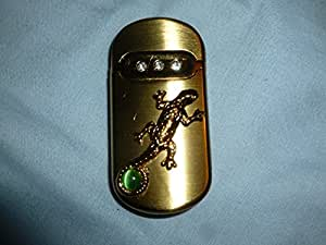 """Limited edition windproof lighter """"PLAIN GOLDEN LIZARD w/pearl""""+Great gift box"""
