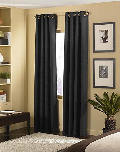 Fancy Collection Luxury 4 Pc Solid Suede Faux Fur Curtain Window Treatment Set (Black, 54