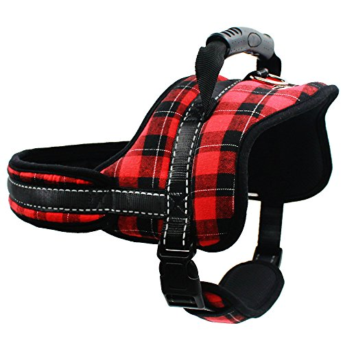 Christmas Dog Harness No Pull No Chock Adjustable Plaid Vest Harness for Dogs,Large