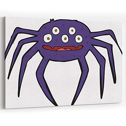 Actorstion Cartoon Halloween Spider Canvas Art Wall Dcor for Modern Home Decor Stretched-Framed Ready to Hang -