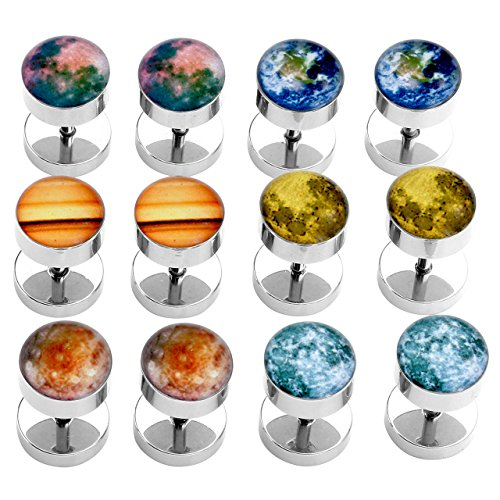 PiercingJ 2-12pcs 16G Solar System Galaxy Universe Stainless Steel Stud Barbell Earrings Illusion Ear Plug 0G Gauge Look by PiercingJ (Image #5)