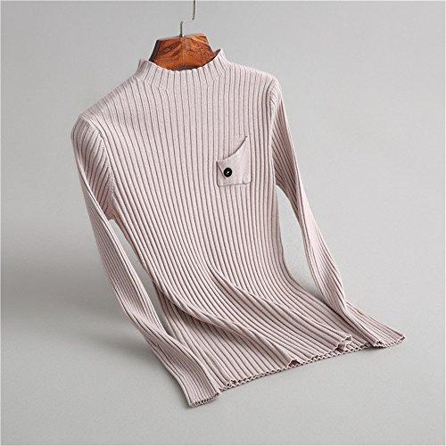 Sweaters Pink Slim collar sleeve Half Knitting Women's Long Height QXH aH5zqz