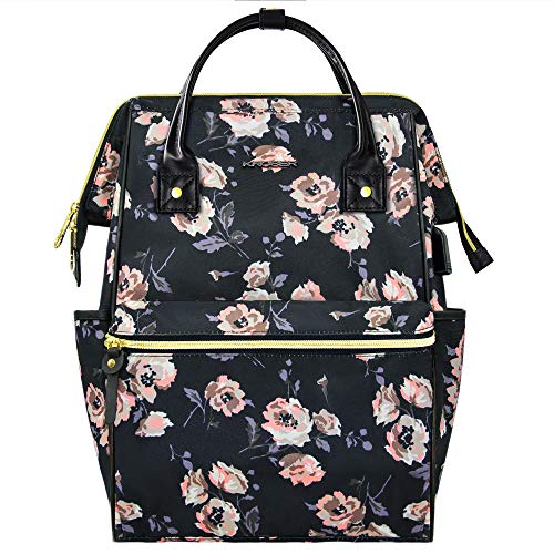 KROSER Laptop Backpack 15.6 Inch Stylish College School Computer Backpack with USB Port Water-Repellent Casual Daypack Doctor Bag Travel Business Work Bag for Women/Girls-Rose Pattern