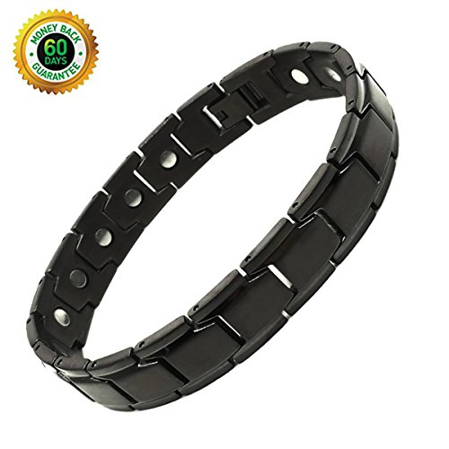 Deluxy Titanium Magnetic Bracelet Therapy High Power Magnets for Men Women Balance Arthritis Relief Pain Carpal Tunnel+ Hematite Pendant Necklace by CharmShiny